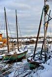 Bateaux à voile à marée basse Photo stock