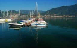 Bateaux à voiles, lac Iseo, Italie Images libres de droits