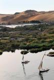 Bateaux à voiles sur le fleuve de Nil Images libres de droits