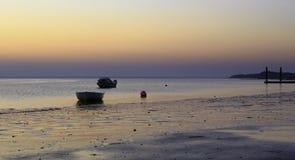 Bateaux au coucher du soleil Images libres de droits