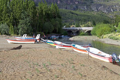Bateaux au Général Carrera Lake, Patagonia, Chili Image libre de droits