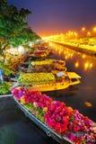 Bateaux au marché de fleur de Saigon chez Tet, Vietnam Photos stock