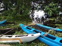 Bateaux bleus abondants de couleur dans un lac image libre de droits
