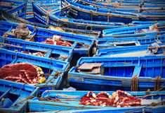 Bateaux bleus d'Essaouira, Maroc Image stock