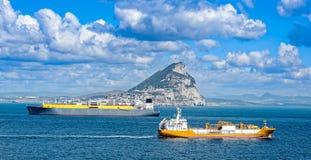 Bateaux-citerne de gaz liquide au Gibraltar Photo stock