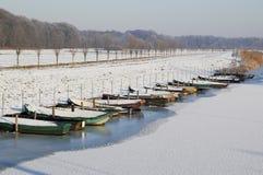 Bateaux dans l'Oude IJssel Images libres de droits
