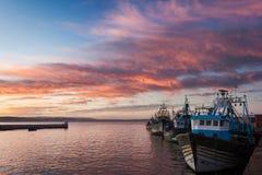 Bateaux d'Essaouira Photo libre de droits