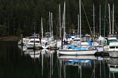 Bateaux dans la marina sur l'île de Vancouver avec la réflexion dans l'eau foncée des arbres photo libre de droits