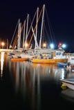 Bateaux dans la nuit Photo stock