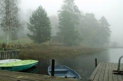Bateaux dans le brouillard près du rivage photo stock