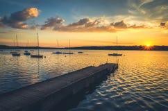 Bateaux dans le lac Images libres de droits