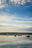 Bateaux dans le port de Boothbay Images libres de droits