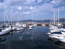 Bateaux dans le port de Vigo, Galicie Photo libre de droits