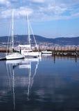 Bateaux dans le port de Vigo, Galicie Photos libres de droits