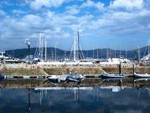 Bateaux dans le port de Vigo, Galicie Images libres de droits