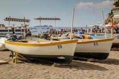 Bateaux dans Positano Photo libre de droits