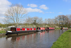 Bateaux de canal sur le canal de Lancaster chez Galgate Image libre de droits