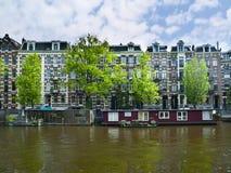 Bateaux de Chambre dans le canal d'Amsterdam Images libres de droits