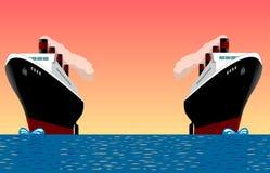 Bateaux de cru en mer Image stock