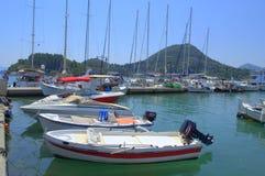 Bateaux de marina de Nydri, Leucade, Grèce photo libre de droits