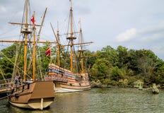 Bateaux de navigation britanniques de règlement de Jamestown Photographie stock