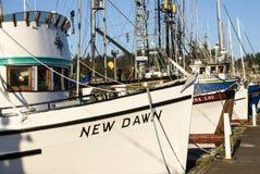 Bateaux de pêche au point d'attache image libre de droits