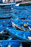 Bateaux de pêche bleus Photographie stock