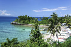 Bateaux de pêche d'île de Malapascua Philippines Image libre de droits