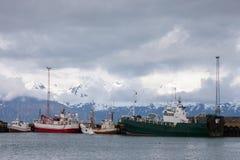 Bateaux de pêche dans la baie, Islande Photo libre de droits