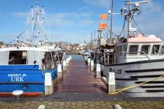 Bateaux de pêche Docked dans le port d'Urk images stock