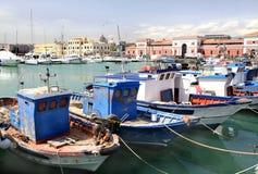 Bateaux de pêche grecs, Catane, Sicile Photos libres de droits