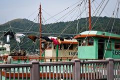 Bateaux de pêche, Hong Kong, Chine images libres de droits