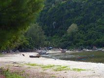 Bateaux de pêche thaïlandais amarrés Photo libre de droits