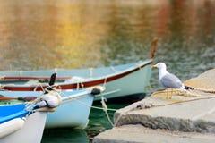 Bateaux de p?che color?s dans la petite marina de Vernazza, un des cinq villages pluricentenaires de Cinque Terre, situ?s sur roc photos stock