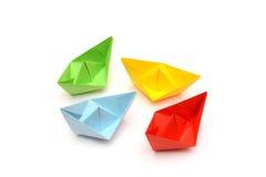 Bateaux de papier coloré, origami Images libres de droits