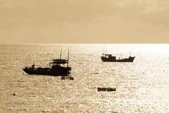 Bateaux de pêche dans la zone intertidale côtière Image stock