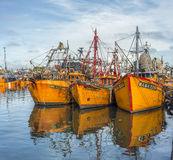 Bateaux de pêche oranges en mars del Plata, Argentine Photographie stock libre de droits