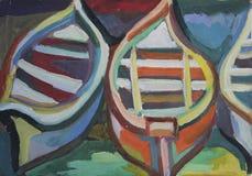 Bateaux de peinture à l'huile Photo stock