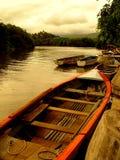 Bateaux de pirogue, Îles Maurice Photos libres de droits