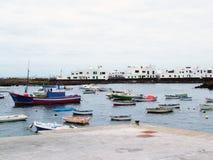 bateaux de port de pêche Images libres de droits
