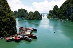Bateaux de touristes à la baie célèbre de Halong au Vietnam, Asie images libres de droits
