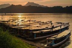 Bateaux de visite dans le Mekong Photographie stock