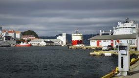 Bateaux en Bergen Harbor, Norvège Images stock