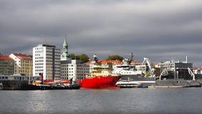 Bateaux en Bergen Harbor, Norvège Image stock