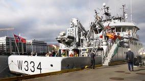 Bateaux en Bergen Harbor, Norvège Photographie stock