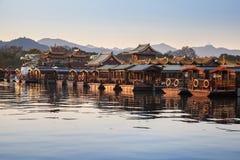 Bateaux en bois de récréation de chinois traditionnel image libre de droits