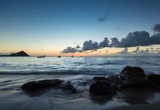 Bateaux en mer dans les Caraïbe Image libre de droits