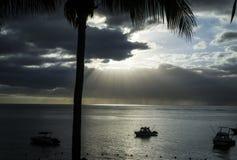 Bateaux en mer, les nuages, le coucher de soleil et les palmiers Photographie stock