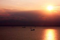 Bateaux en Mer Noire. Image libre de droits