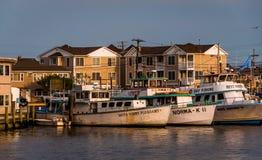 Bateaux et maisons le long de l'admission de Manasquan au point Bea agréable Photo stock